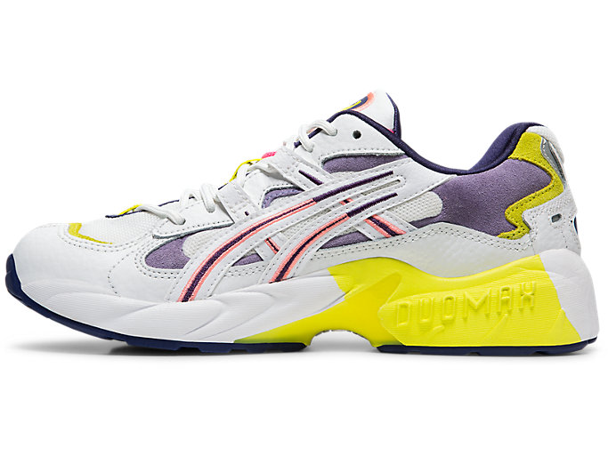 Left side view of GEL-KAYANO™ 5 OG, WHITE/PURPLE MATTE
