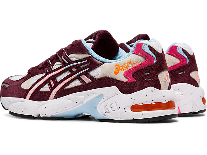 Front Left view of GEL-KAYANO 5 OG, WHITE/DEEP MARS