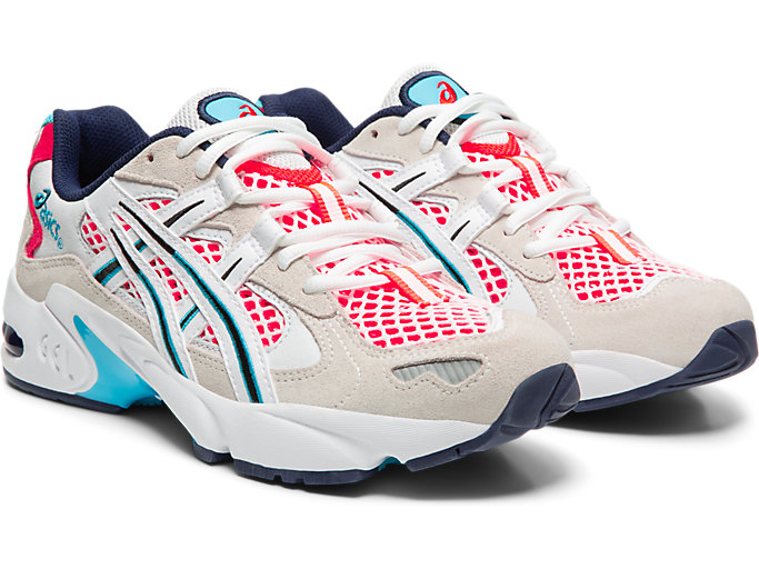 Front Right view of GEL-KAYANO 5 OG, WHITE/FLASH CORAL