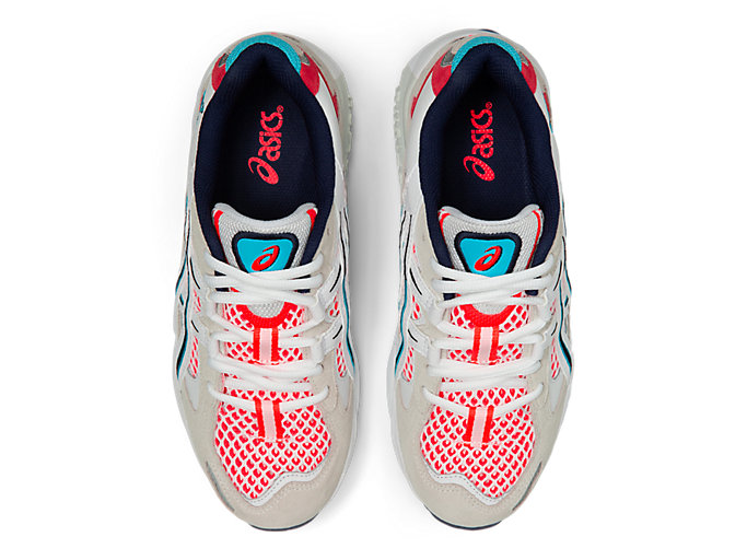Top view of GEL-KAYANO 5 OG, WHITE/FLASH CORAL