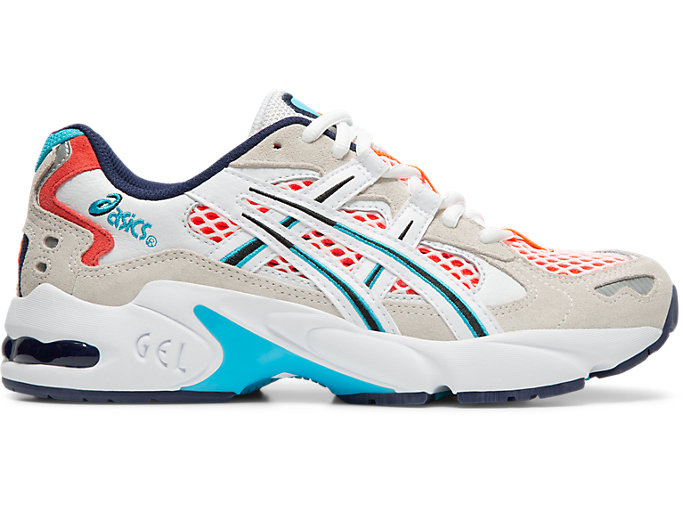 Right side view of GEL-KAYANO 5 OG, WHITE/FLASH CORAL