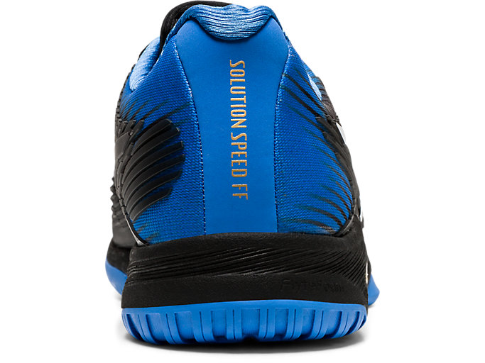 Back view of SOLUTION SPEED FF, BLACK/BLUE COAST