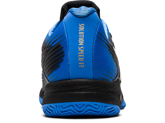 Back view of SOLUTION SPEED FF CLAY, BLACK/BLUE COAST