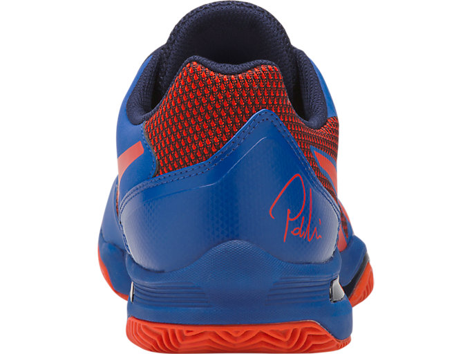 Back view of GEL-LIMA™ PADEL, ASICS BLUE/FIERY RED