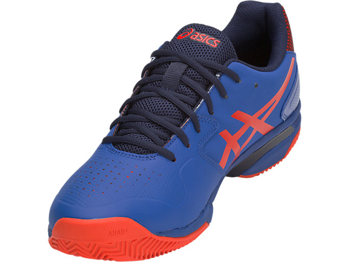Front Left view of GEL-LIMA™ PADEL, ASICS BLUE/FIERY RED