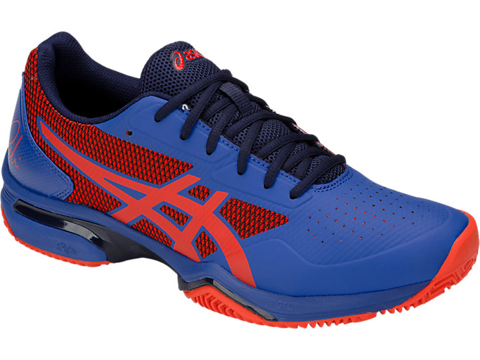 Front Right view of GEL-LIMA™ PADEL, ASICS BLUE/FIERY RED
