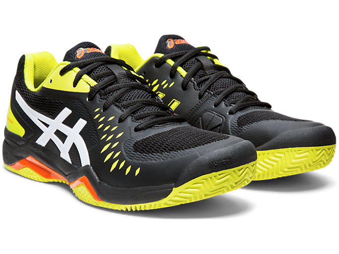 Front Right view of GEL-CHALLENGER™ 12 CLAY, BLACK/SOUR YUZU