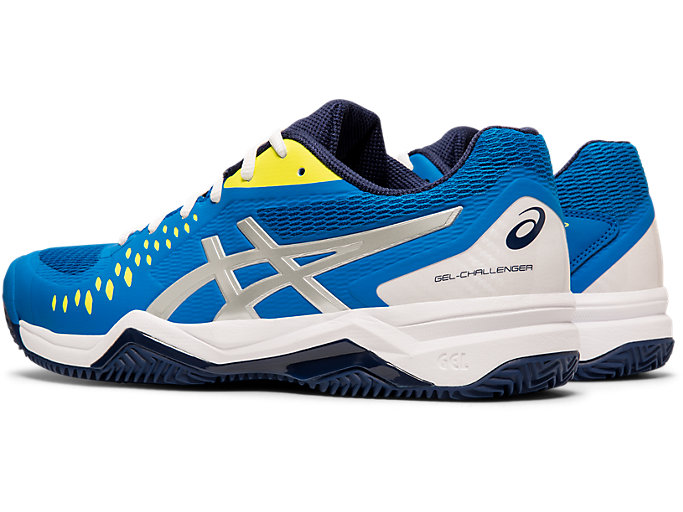 Front Left view of GEL-CHALLENGER™ 12 CLAY, ELECTRIC BLUE/SILVER