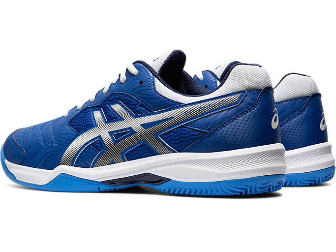 Front Left view of GEL-DEDICATE™ 6 CLAY, ASICS BLUE/WHITE