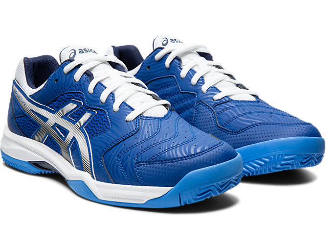 Front Right view of GEL-DEDICATE™ 6 CLAY, ASICS BLUE/WHITE