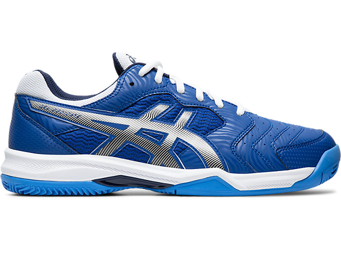 Right side view of GEL-DEDICATE 6 CLAY, ASICS BLUE/WHITE
