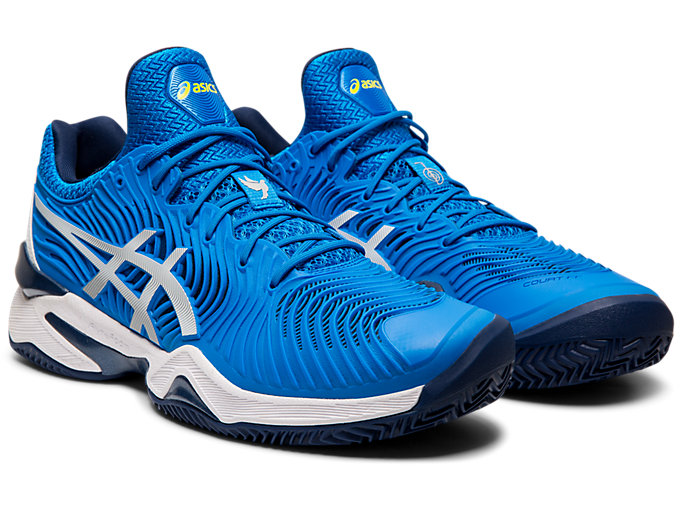 Front Right view of COURT FF™  NOVAK CLAY, ELECTRIC BLUE/WHITE