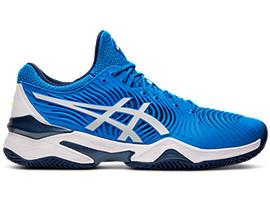 Right side view of COURT FF™ NOVAK CLAY, ELECTRIC BLUE/WHITE