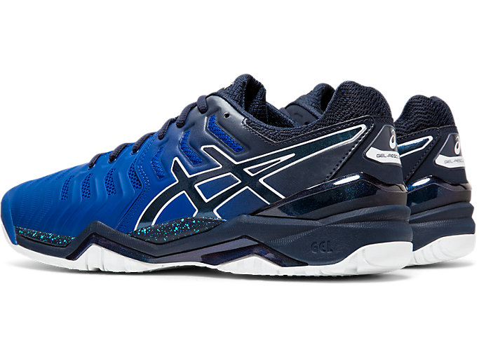 Front Left view of GEL-RESOLUTION 7 OC AWC, ASICS BLUE/MIDNIGHT