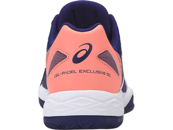 Back view of GEL-PADEL EXCLUSIVE 5 SG, INDIGO BLUE/WHITE