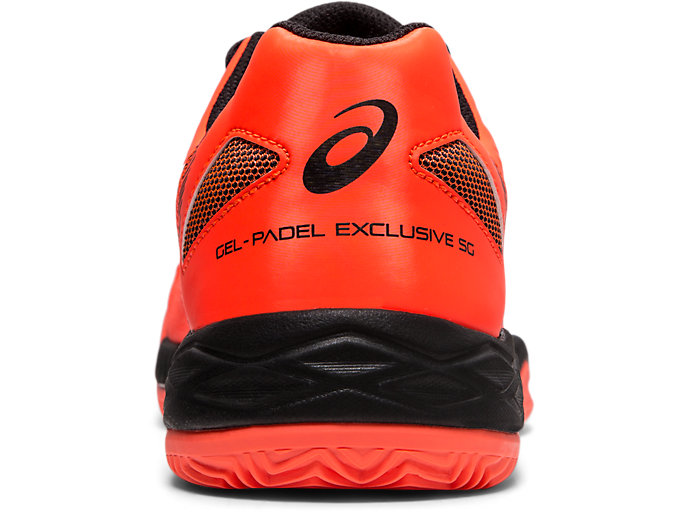 Back view of GEL-PADEL EXCLUSIVE 5 SG, FLASH CORAL/WHITE