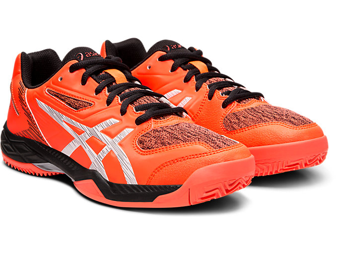 Front Right view of GEL-PADEL EXCLUSIVE 5 SG, FLASH CORAL/WHITE