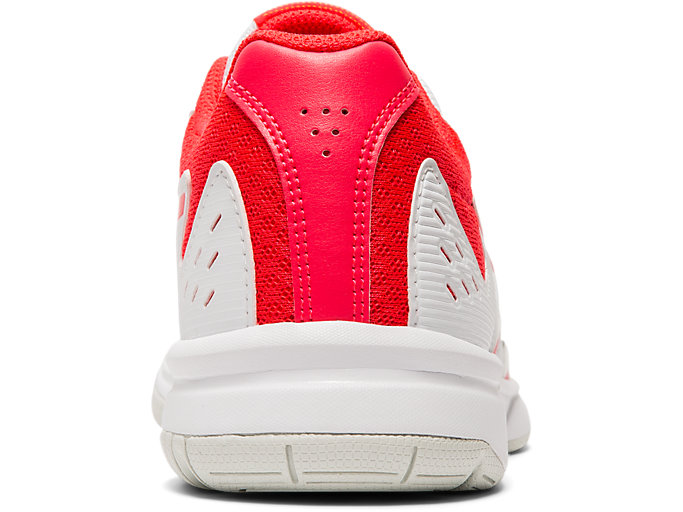 Back view of COURT SLIDE, WHITE/LASER PINK