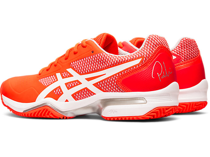Front Left view of GEL-LIMA™ PADEL, FLASH CORAL/WHITE