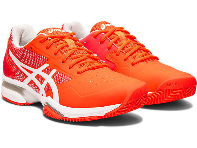 Front Right view of GEL-LIMA™ PADEL, FLASH CORAL/WHITE