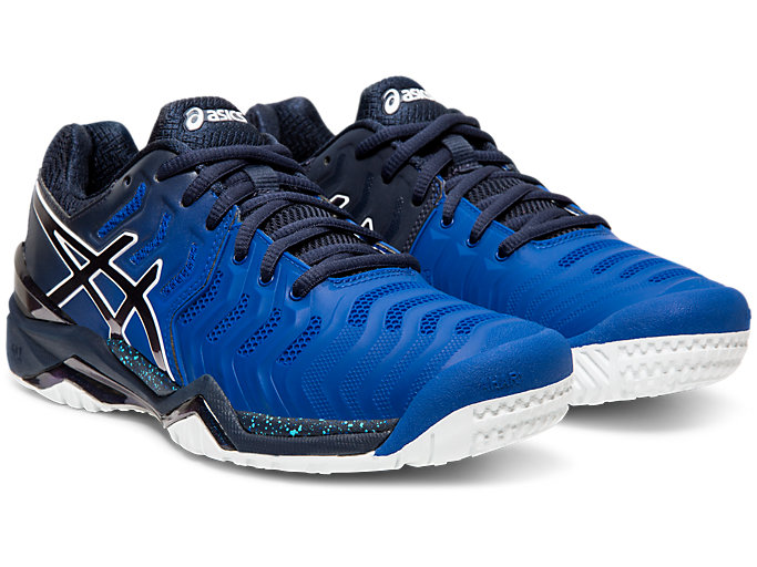 Front Right view of GEL-RESOLUTION 7 OC AWC, ASICS BLUE/MIDNIGHT