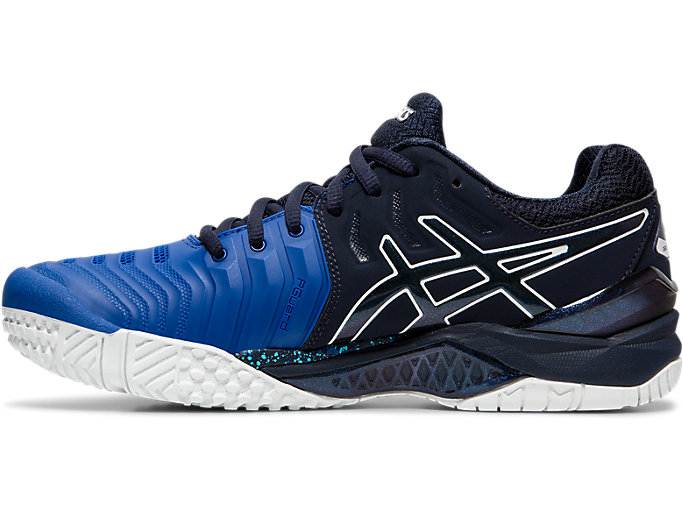 Left side view of GEL-RESOLUTION 7 OC AWC, ASICS BLUE/MIDNIGHT