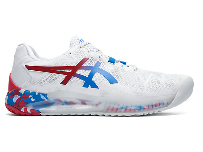 Latest Technology Asics Men White Blue Tennis Shoes Gel