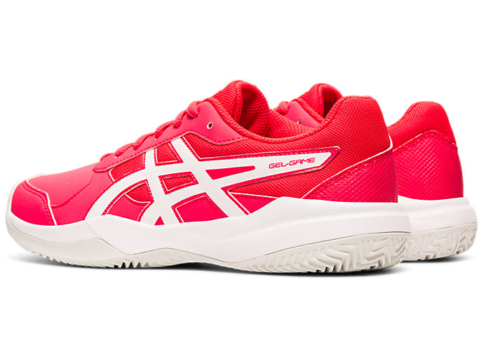 Front Left view of GEL-GAME™ 7 CLAY GS, LASER PINK/WHITE