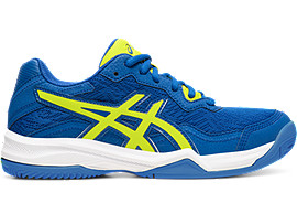 Right side view of GEL-PADEL™ PRO 4 GS, ASICS BLUE/VIBRANT YELLOW