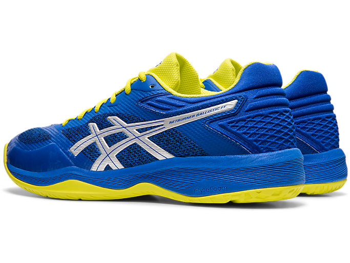 Front Left view of NETBURNER BALLISTIC FF, ASICS BLUE/SILVER