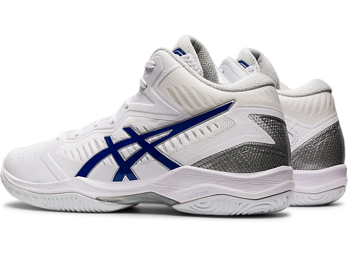 Front Left view of GELHOOP V12, WHITE/ASICS BLUE