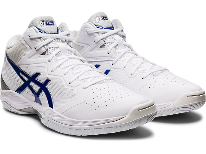 Front Right view of GELHOOP V12, WHITE/ASICS BLUE