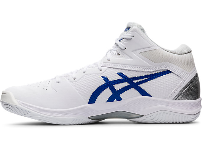 Left side view of GELHOOP V12, WHITE/ASICS BLUE