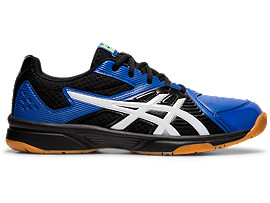 Right side view of COURT BREAK, BLACK/ASICS BLUE