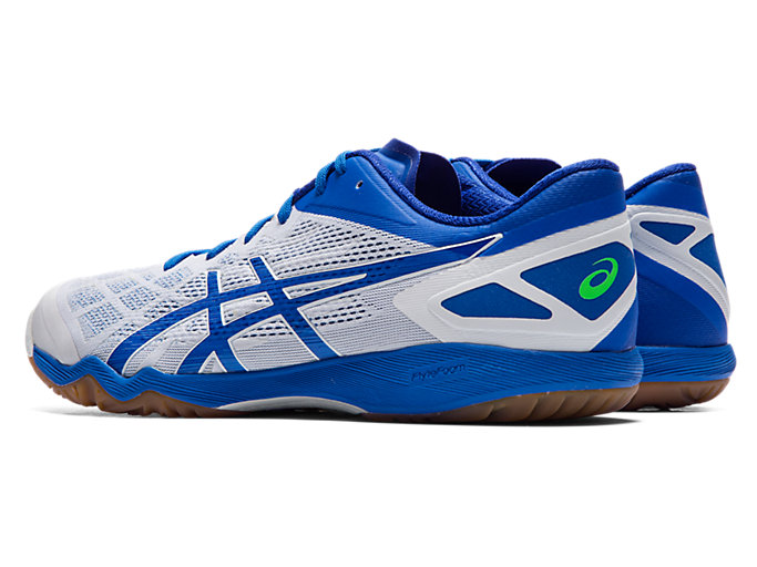 Front Left view of ATTACK DOMINATE FF 2, WHITE/ELECTRIC BLUE