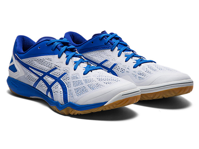 Front Right view of ATTACK DOMINATE FF 2, WHITE/ELECTRIC BLUE