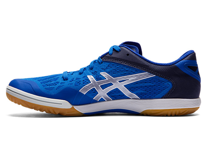 Left side view of ATTACK DOMINATE FF 2, ASICS BLUE/PURE SILVER