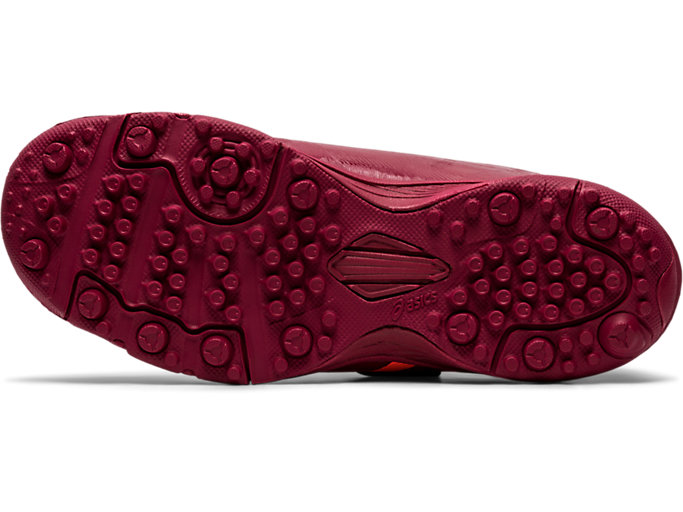 Bottom view of JUNIOLE 5 TF, BURGUNDY/FLASH CORAL