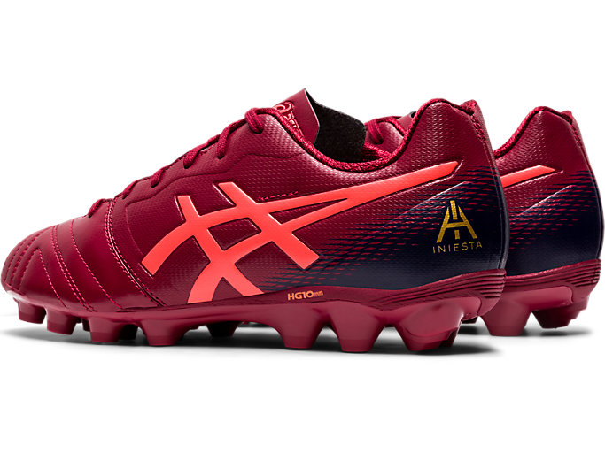 Front Left view of ULTREZZA AI GS, BURGUNDY/FLASH CORAL
