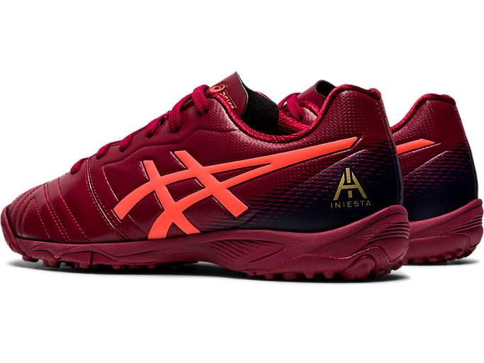 Front Left view of ULTREZZA AI GS TF, BURGUNDY/FLASH CORAL