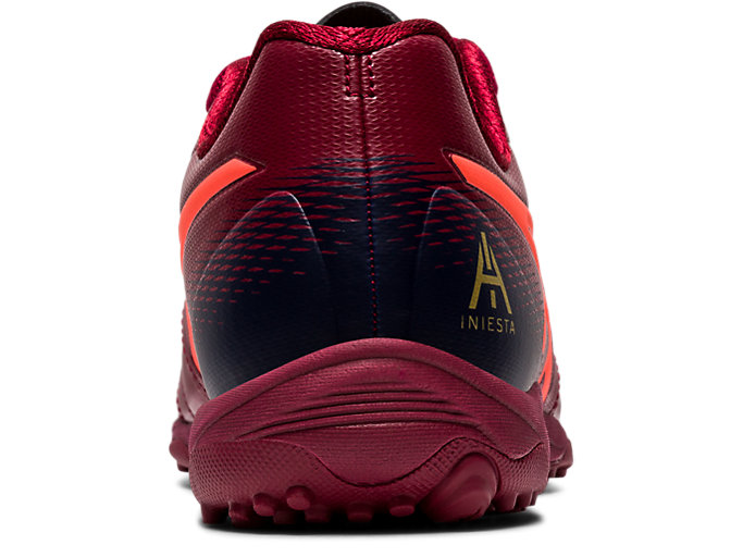 Back view of ULTREZZA AI GS TF, BURGUNDY/FLASH CORAL