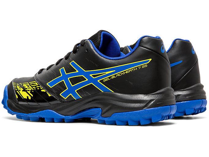 Front Left view of GEL-BLACKHEATH 7 GS, BLACK/ASICS BLUE