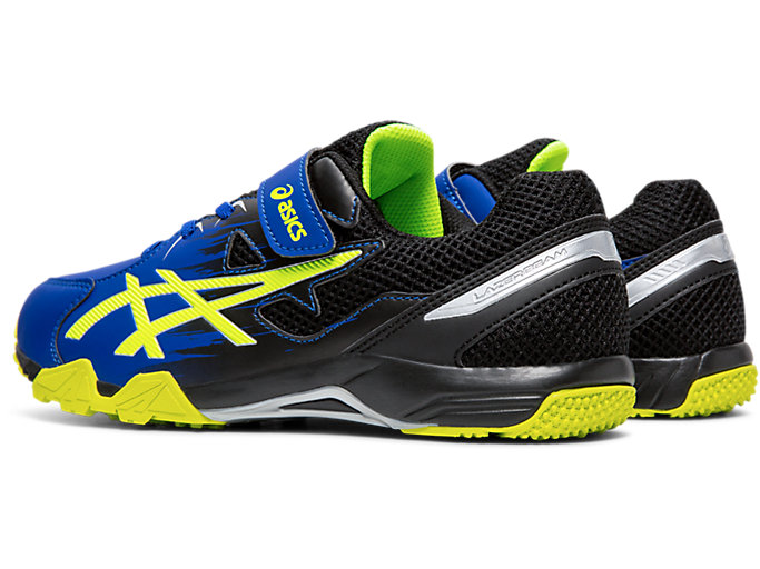 Front Left view of LAZERBEAM® SD-MG, ASICS BLUE/SAFETY YELLOW
