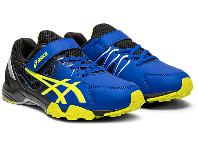 Front Right view of LAZERBEAM® SD-MG, ASICS BLUE/SAFETY YELLOW