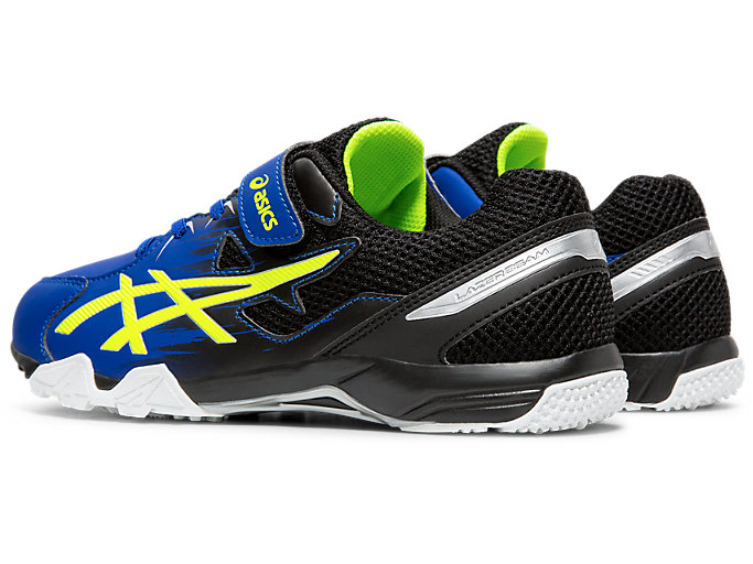 Front Left view of LAZERBEAM® SD-MG-W, ASICS BLUE/SAFETY YELLOW