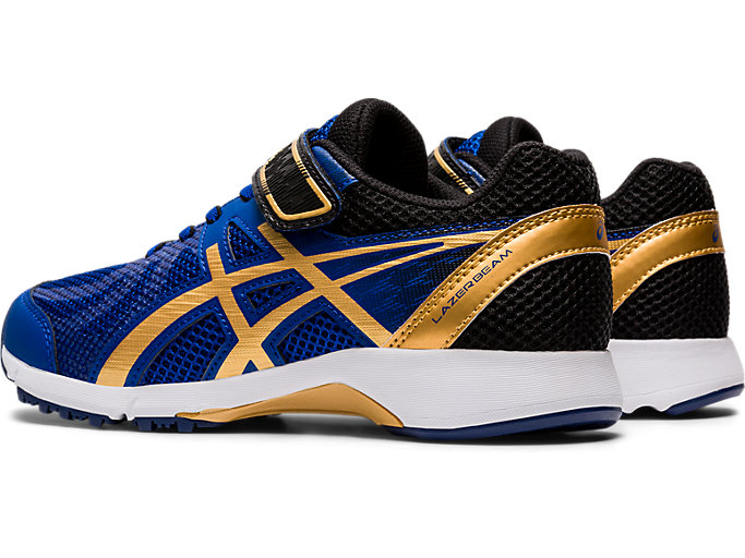 Front Left view of LAZERBEAM® RE-MG, ASICS BLUE/PURE GOLD