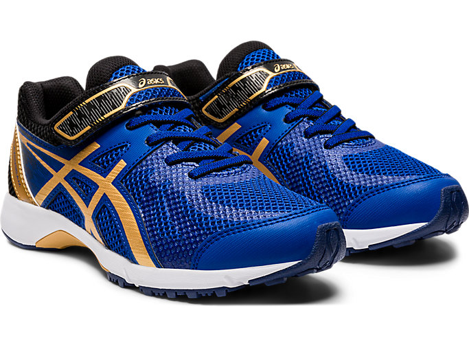 Front Right view of LAZERBEAM® RE-MG, ASICS BLUE/PURE GOLD