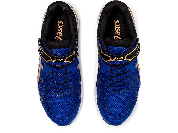 Top view of LAZERBEAM® RE-MG, ASICS BLUE/PURE GOLD