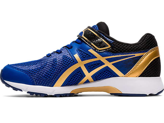 Left side view of LAZERBEAM® RE-MG, ASICS BLUE/PURE GOLD
