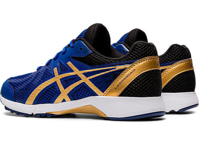 Front Left view of LAZERBEAM® RE, ASICS BLUE/PURE GOLD